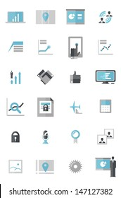 Modern Business Data Icons A set of icons that include laptop with data, mobile tablet, networking, touch gestures, gantt chart, presenting data, photos, management, handshake, maps, and calculator.