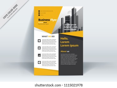 A modern business flyer, flier layout template, poster,  with yellow and  gray elements . Size A4 CMYK Vector illustration