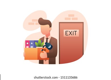 Modern Business Illustration Vector With Businessman Fired From His Job And Walks Leaving The Office Through Exit Door Holding A Box Contains All Kinds Of Work Equipment Including Documents