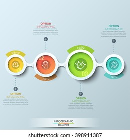 Modern business infographic with connected circles. Vector illustration. Can be used for web design and workflow layout