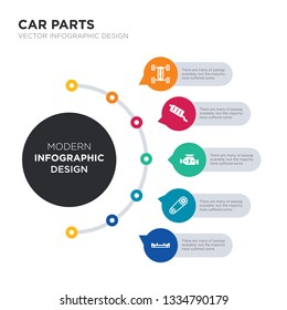 modern business infographic illustration design contains car bumper, car camshaft, car carburettor, catalytic converter, chassis simple vector icons. set of 5 isolated filled icons. editable sign