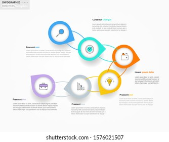 Modern business infographic template, backdrop with colorful graph, six steps, simple line icons, isolated on white background, for infographics, presentations, documents