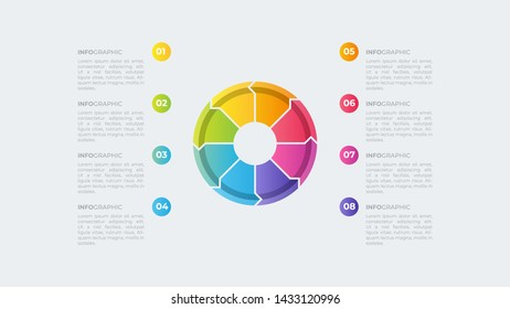 Modern Business Infographic template. full color design and 8 options or steps