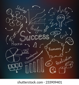 Modern business inspiration concept with hand drawn doodle icons, light bulb idea, diagram and graph on defocused colored background. Vector illustration.
