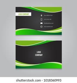 Modern business namecard black and green color design template, vector illustration.