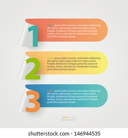 Modern business number paper cut infographics element.
