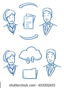 Modern business people looking happy, sharing their files and documents via cloud and hard-copy. Hand drawn line art cartoon vector illustration.