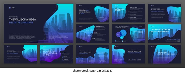 Modern business presentation templates set. Use for powerpoint presentation background, brochure design, website slider, landing page, annual report, company profile.