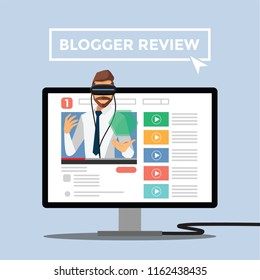 Modern Business Product Reviews ,Blogger Review Concept.Video Streamer Blogger , Live Broadcast. Online Channel. Vector illustration cartoon character.