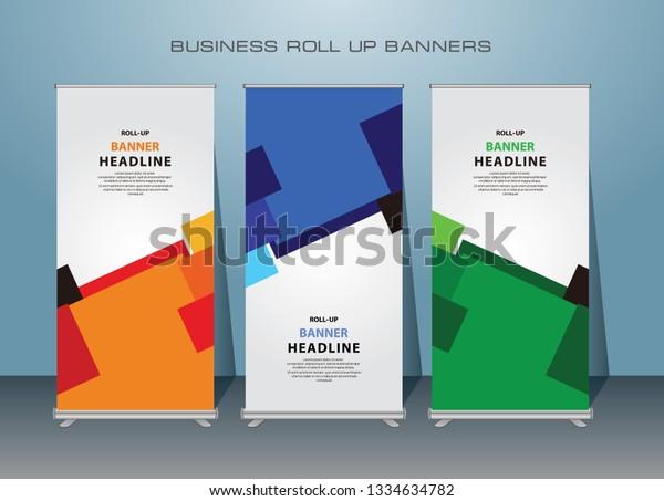 Modern Business Roll Banner Standing Banner Stock Vector