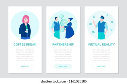 Modern business - set of flat design style banners on grey background with place for text. Businesspeople with a cup, shaking hands, in VR goggles. Coffee break, partnership, virtual reality concepts