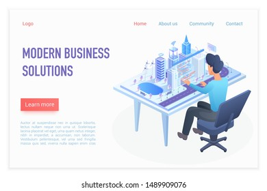 Modern business solutions landing page isometric vector template. Architect working at desk, smart city model on desktop. Business strategy. Urban construction website homepage 3D concept