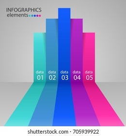 Modern business steps to success charts and graphs options banner. Vector illustration
