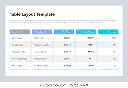 Modern business table layout template. Flat design, easy to use for your website or presentation.