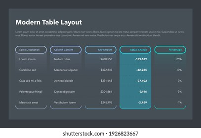 Modern business table layout template - dark version. Flat design, easy to use for your website or presentation.