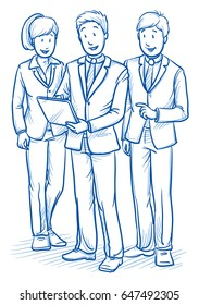 Modern business team looking happy and successful, discussing solutions and ideas with a tablet screen. Hand drawn line art cartoon vector illustration.