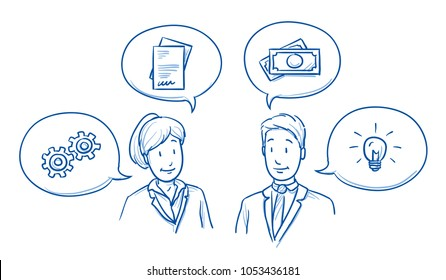 Modern business team, man and woman looking happy, discussing solutions and ideas with icons in speech bubbles. Hand drawn line art cartoon vector illustration.