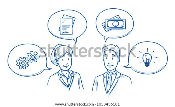 Modernes Geschäftsteam, glücklich aussehende Männer und Frauen, diskutieren Lösungen und Ideen mit Symbolen in Sprachblasen. Handgezeichnete Linie Art Cartoon Vektorgrafik.