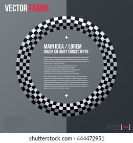 Modern business text background with checkered ring. Neutral corporate style.