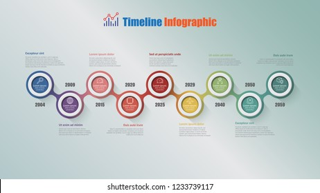 Modern business timeline infographic with 9 steps circle designed for background elements diagram planning process web pages workflow digital technology data presentation chart. Vector illustration