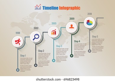 Modern business timeline infographic designed for abstract background template element modern diagram web pages technology digital marketing road map data presentation chart. Vector illustration