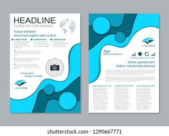 Modern business two-sided flyer, booklet, brochure cover vector design template. Paper cut colorful background. A4 format