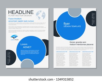 Modern business two-sided flyer, booklet, brochure cover vector design template,  black and blue. A4 format