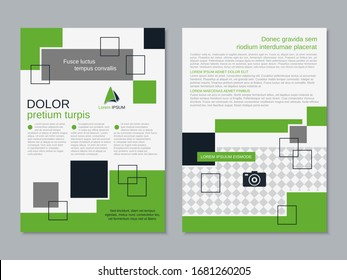 Modern business two-sided flyer, booklet, brochure cover vector design template