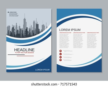 Modern business two-sided flyer, booklet, brochure cover vector design template. A4 format