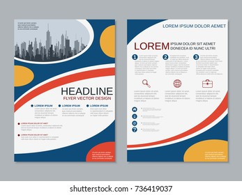 Modern business two-sided flyer, booklet, brochure cover, annual report vector design template. A4 format