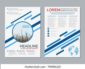 Modern business two-sided flyer, booklet, brochure cover, annual report vector design template