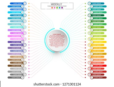 Modern business vertical timeline process chart infographics template. Vector banner used for presentation. Abstract elements of graphic weekly plan. Vector EPS10