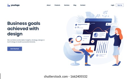 Modern Business website template design. Flat Vector illustration concept of web page design for Business Strategy and Analytics. Easy to edit and customize.