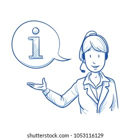 Modern business woman with a headset looking happy offering information, help or telephone support. Hand drawn line art cartoon vector illustration.