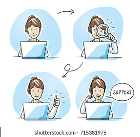 Modern business woman looking happy, working on her laptop, verifying, checking and talking on the phone. Hand drawn cartoon sketch vector illustration, whiteboard marker style coloring.