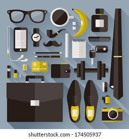 Modern businessman essentials. Flat design elements with long shadow