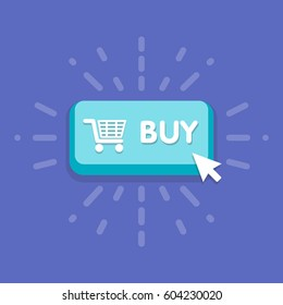 Modern buy button design with mouse click symbol. Vector illustration.