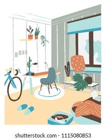 Modern cabinet or bedroom furnished in Scandic hygge style with desk, chair, bed, potted plants. Stylish and comfortable Scandinavian apartment interior. Flat colorful hand drawn vector illustration.