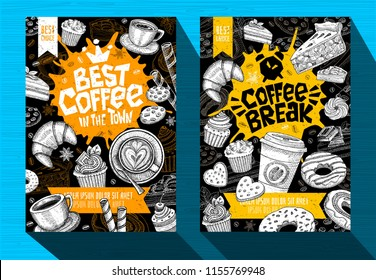 Modern cafe food poster menu template. Logo emblem sign lettering. Coffee break, Best Coffee in the town, Coffee mug beans spoon crown. Pen ink sketch style hand drawn vector illustration.