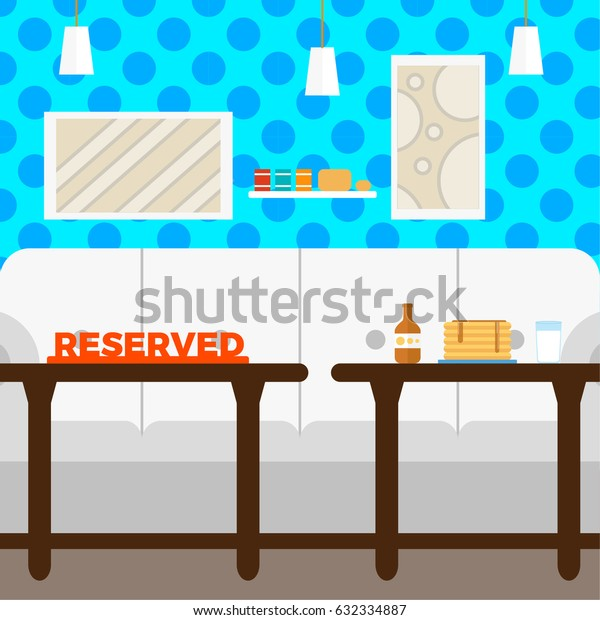 Modern Cafe Interior Empty Flat Vector Illustration , Coffee house, Reserved , EPS10