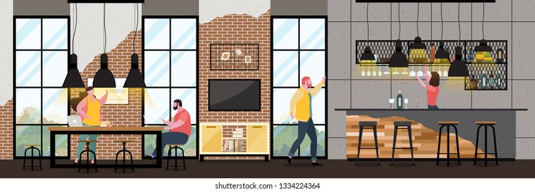 Modern Cafe Interior in loft style with full of customer