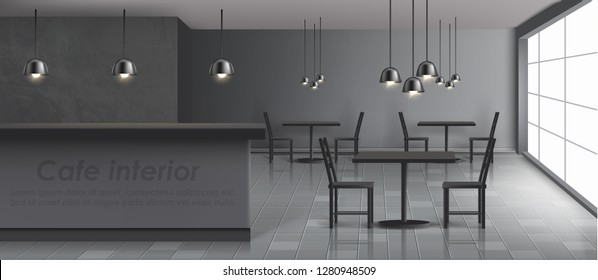Modern cafe minimalistic design interior realistic vector banner. Bar counter, chairs and tables on tiled floor, big window, hanging ceiling-mounted lamps with black metal lampshades illustration