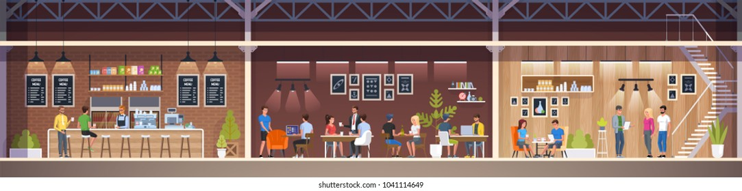 Modern Cafe with young people. Interior Restaurant. Creative Office Coworking Center. University Campus. Modern Workplace. Coffee shop with bar counter, table and chairs. Vector Illustration