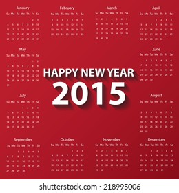 Modern calendar 2015 in red color paper style.Vector/illustration.