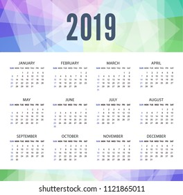 Modern calendar template for 2019 years. Week starts from Sunday. For business on white background. Bright abstract background top. Vector illustration.