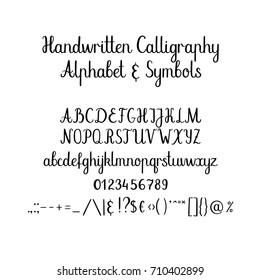 Modern calligraphy alphabet. Handwritten brush letters. Uppercase, lowercase, numbers. Hand lettering