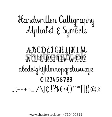 Modern Calligraphy Alphabet Handwritten Brush Letters Stock