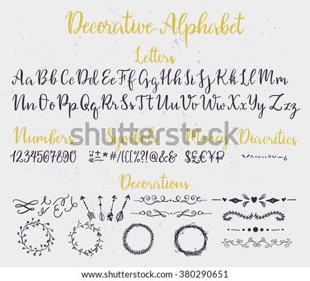 Modern Calligraphy Decorative Alphabet Numbers Symbols Stock Vector 380290651