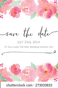 Modern Calligraphy Save The Date Watercolor Flowers Vector Invitation