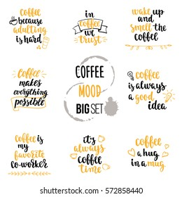 Modern calligraphy style coffee phrase big set. Handwritten brush ink lettering. Hand drawn design elements and beverage quotes. Vector illustration for your design on white background.